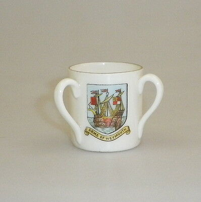 Vintage English Crested Souvenir Miniature Tyg Arms of Weymouth