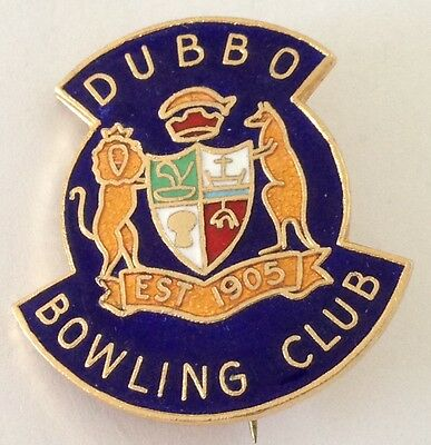 Dubbo Bowling Club Badge Coat Of Arms Rare Vintage (L9)