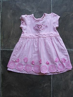 Baby Girl's Sprout Pink & Silver Cotton Summer Dress Size 00 VGUC