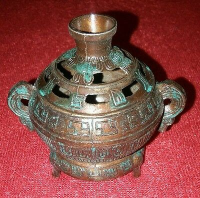 "True vintage CHINESE tripod genie lamp style BRONZE INCENSE BURNER 2.5""x2.75"""