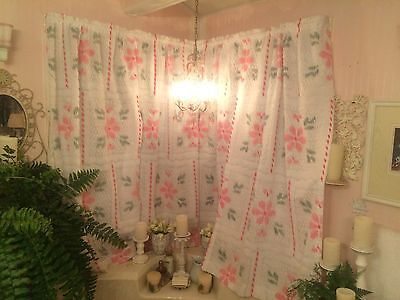 """2 Panels Vintage Chenille Curtains Drapes 64"""" x 36"""" Panels Pink Green White Pair"""