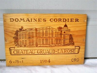 Vintage French WOOD WINE Plaque Sign, Crate box CHATEAU GRUAUD