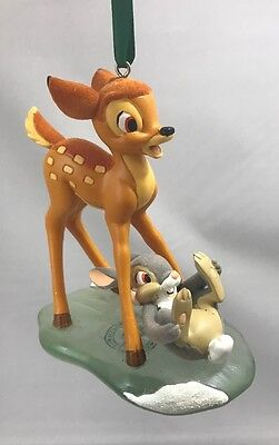 Disney Parks Bambi and Bunny Thumper On Ice Resin Christmas Ornament - NEW
