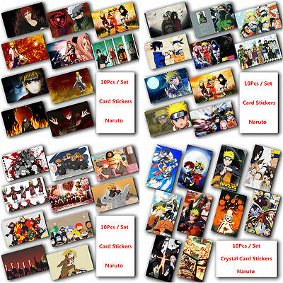 10Pcs/Set Naruto Crystal Card Stickers Japanese Anime Poster Photo For Gift