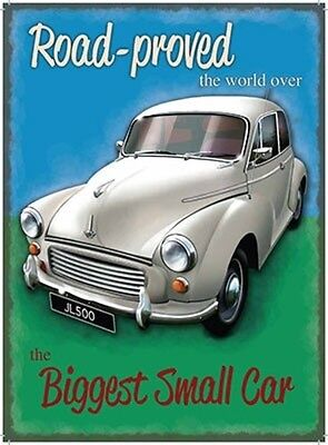 Large Metal Tin Sign Morris Minor Car Ovaltine Thatch Cottage Country Drink