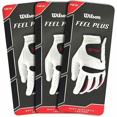 """new 2017"" Wilson Feel Plus Mens All Weather Golf Glove / Multibuy 3 Glove Pack"