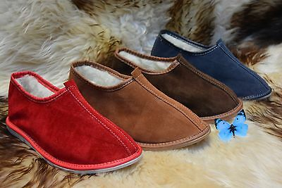 hand-made womens ladies natural leather suede slippers moccasins all size 3-8