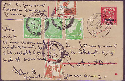 Palestine 24 AUG 1939 15pf red reply half stat card Germany send back from Haifa