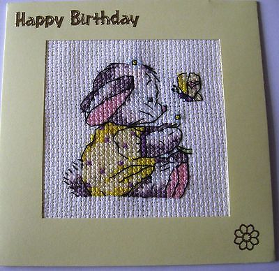 "Birthday Card Completed Cross Stitch Some Bunny & Butterfly 5.5"" sq"