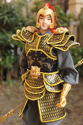 12.99''  Tall Ancient Chinese Soldier Commander Silk PU Leather Cloth Warrior-19