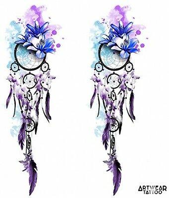 Temporary Tattoos (2 Pcs Water Transfert) 'Lotus Dreamcatcher' - ArtWear Tattoo