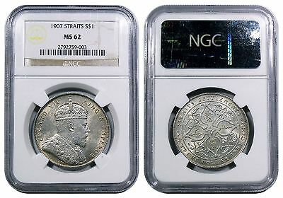 Straits Settlements, Edward VII, Dollar, 1907. NGC MS62. Rare in this condition.