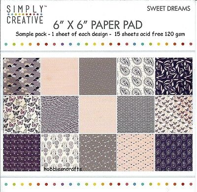 Einfach Kreativ Sweet Dreams Papier 6 X 6 Muster Packung - 120 Gsm - 15 Sheets