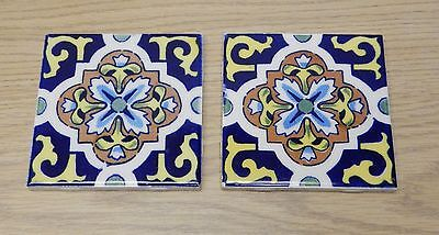 Set 2 Dal Tile Mexico blue & yellow ceramic tiles pottery mosaic art focal point