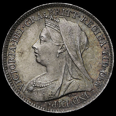 1901 Queen Victoria Veiled Head Silver Sixpence – G/EF