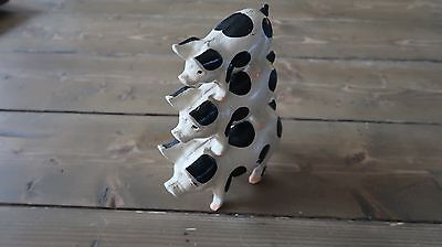 Vintage Painted 3 Stacked Pig Cast Iron Door Stop