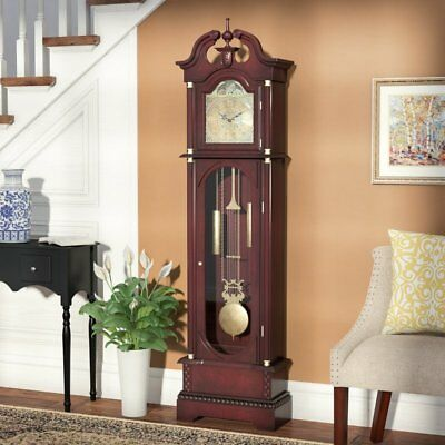 Antique Grandfather Clock Traditional Tall Wooden Long Case Glass Door Vintage