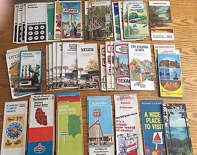 Lot Of 48 Vintage Road Maps 1970's Esso Skelly Standard Gulf Texaco & More