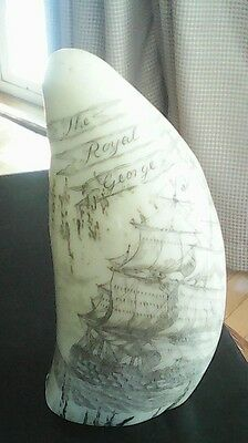 Scrimshaw Whale's Tooth Replica - King George 3/ The Royal George