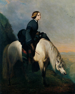Old Vintage Equestrian De Dreux Print Scottish Lady Sat Sidesaddle White Pony