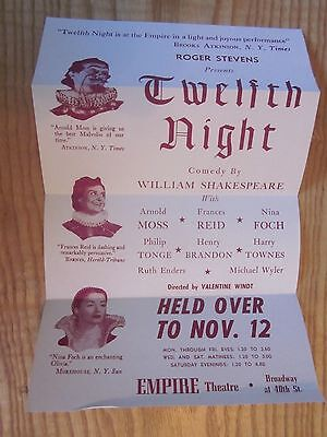 """ORIGINAL VINTAGE 1950's """"Twelfth Night""""  Comedy by William Shakespeare poster ad"""