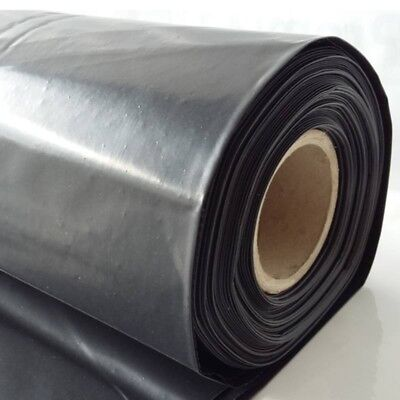 Black Plastic Polythene Sheet Damp Proof 4mx3m DPM 300Mu 1200 gauge cover