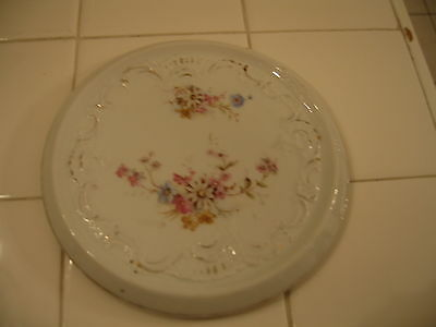 Vintage Porcelain Hand Painted Hot Plate Trivet With Floral Design