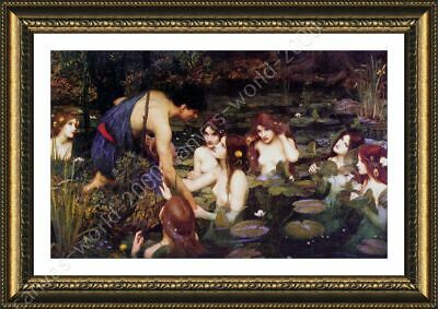 Hylas And The Nymphs by Waterhouse   Framed canvas   Wall art print giclee