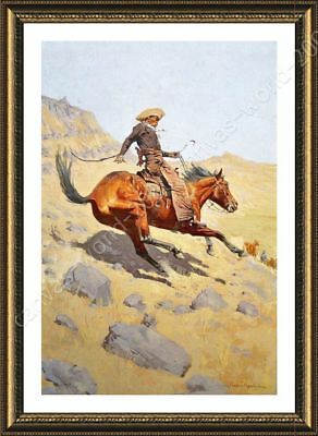 The Cowboy by Frederic Remington | Framed canvas | Wall art paint oil painting