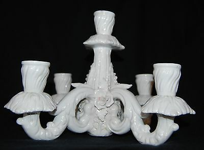 Vintage Dresden Porcelain White Floral Candelabra Top Only 5 Candle Holder