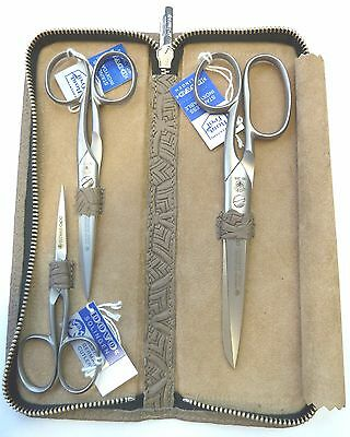 """Dovo Scissor SET 3 pc w TAUPE Leather Case Stainless Steel 4"""" 5"""" 6"""""""