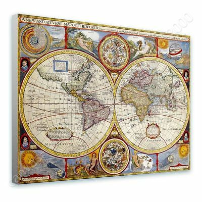Antique Old Vintage V1 by World Map | Ready to hang canvas | Wall art paint HD