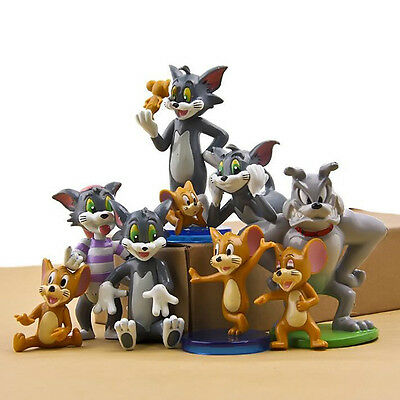 New 9pcs Set Cute Tom and Jerry Figures Cat Mouse Dog Animals Collection Toys