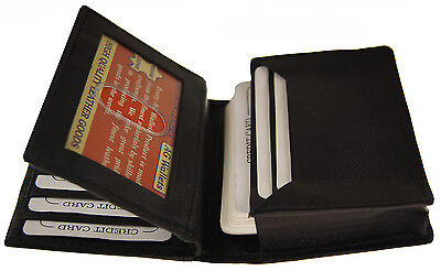 Mens Expandable Genuine Leather Credit/Business Card Holder and ID Flap Wallet