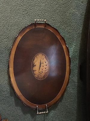 Early 1900-1940's Antique Edwardian Mahogany Inlaid Tray with Brass Handles