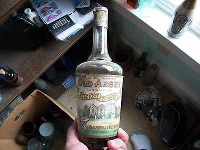 Old Abbey Apricot Brandy Great Graphic Monk Picture Original Seal California