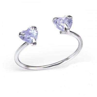 Lilac Crystal Heart Sterling Silver Adjustable Toe Ring
