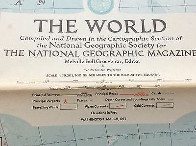 Vintage National Geographic March 1957 Map of the World