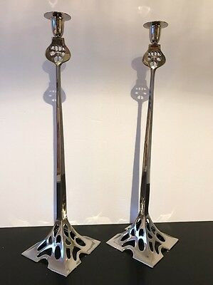 Pair Of Art Nouveau Tall Silvery Metal Candlestick 55 cm Tall - Reproduction