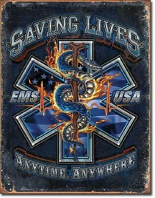 EMS Saving Lives Anytime Anywhere TIN SIGN Rescue EMT Wall Decor Metal Poster