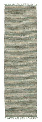 Hallway Runner Hall Rug Large Floor Flat Weave Modern Design Jute Leather Aqua