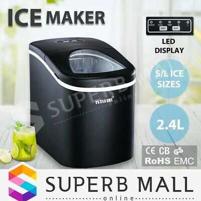 2.4L Portable Commercial Ice Cube Maker Machine Automatic Easy Home Fast Snow BK