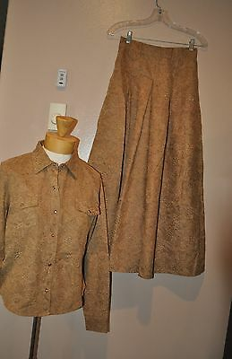 RODS Western Wear Split Side Saddle Skirt & Blouse Outfit Size Medium