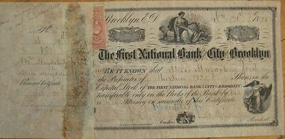 First National Bank, City of Brooklyn, NY 1871 Stock Certificate - New York