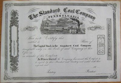 The Standard Coal Company of Pennsylvania 1860 Mining Stock Certificate - PA