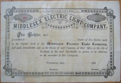 Middlesex Electric Light Company 1880 Stock Certificate - Portland, Maine ME