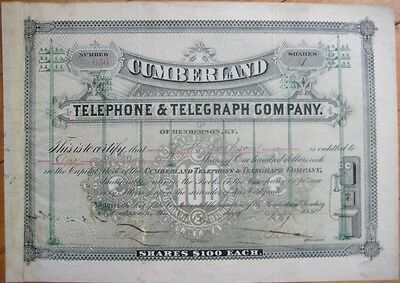 Cumberland Telephone & Telegraph Co. 1884 Stock Certificate - Henderson, KY