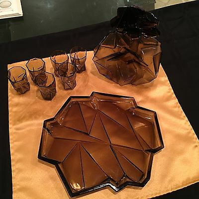 Very Rare Consolidated Ruba Rombic Whiskey Decanter & 6 Tumblers with Tray.