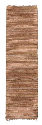 Brand New Floor Rug Flat Weave Modern Design Jute Leather Runner Brown
