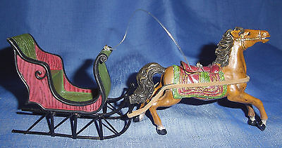 """RAZ Imports 8"""" Victorian Horse & Sleigh Christmas Ornament-Made Of Resin & Metal"""